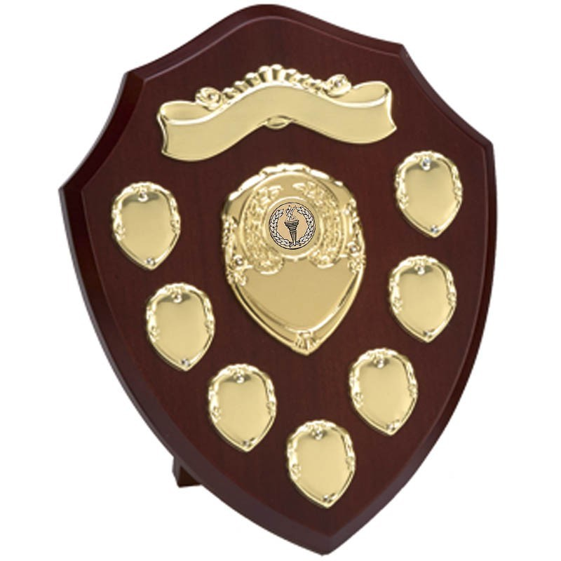 Triumph Annual Shield With Top Scroll in Rosewood and Gold - Available in 3 Sizes
