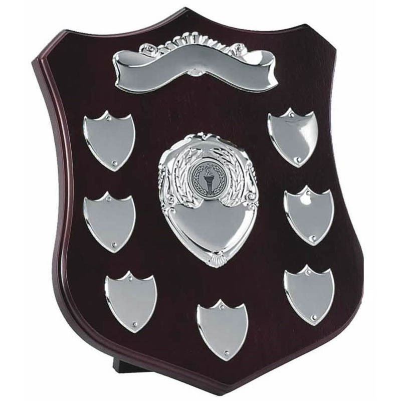 Champion Annual Shield in Rosewood and Silver - Available in 3 Sizes