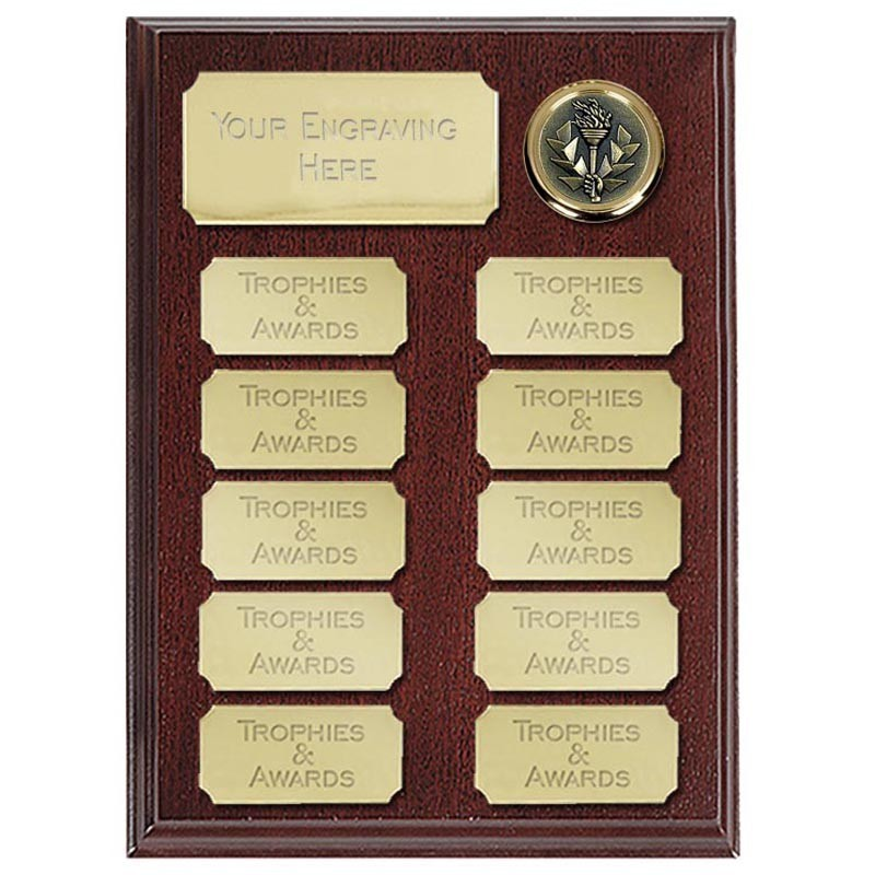 Ashfield Economy Presentation Plaque in Rosewood and Gold - Available in 2 Sizes