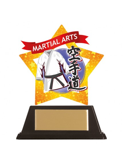 Mini-Star Karate Acrylic Blue Plaque 100mm