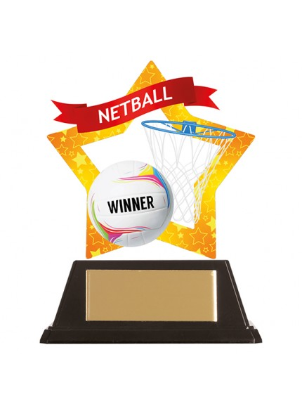 Mini-Star Netball Acrylic Plaque 100mm