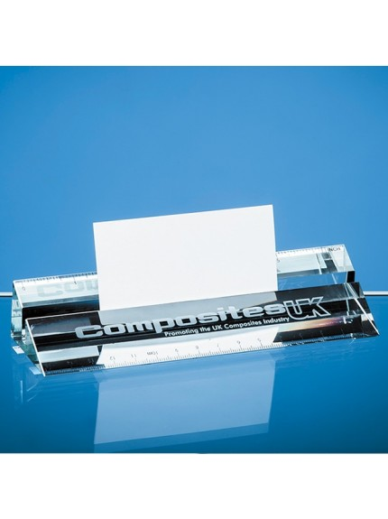 15cm Clear Glass Ruler & Business Card Holder