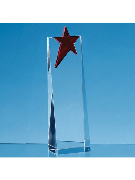 Optical Crystal Rectangle with a Brilliant Red Star Award - 3 Sizes