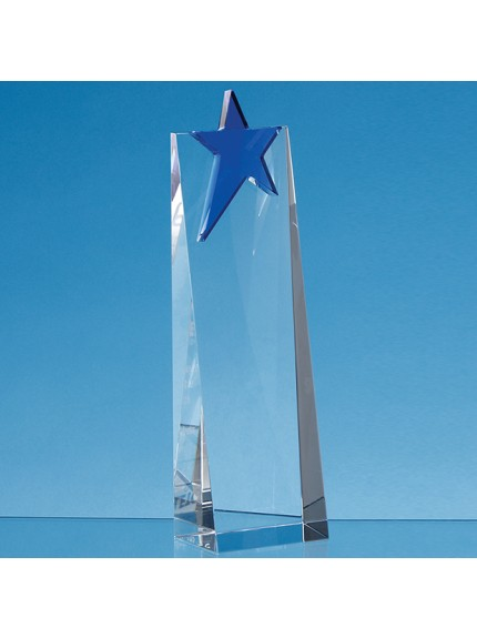 Optical Crystal Rectangle with a Cobalt Blue Star Award - 3 Sizes