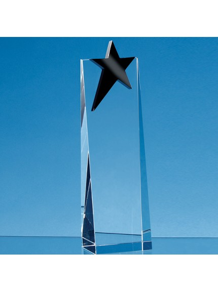 Optical Crystal Rectangle with an Onyx Black Star Award - 3 Sizes