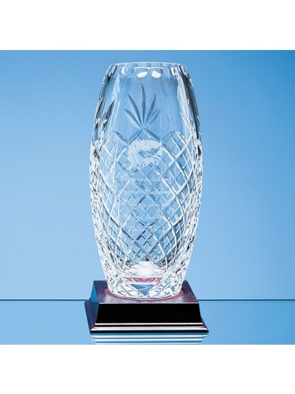 Lead Crystal Panelled Oval Vase