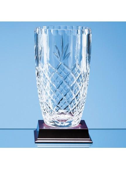 Lead Crystal Panelled Barrel Vase