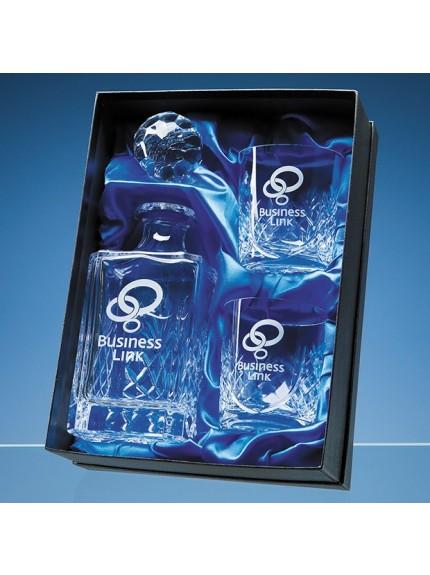 3pc Blenheim Panel Whisky Set in a Satin Lined Presentation Box