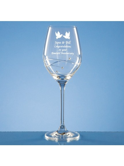 Single Diamante Wine Glass with Spiral Design Cutting