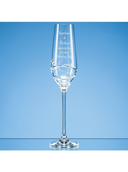 Single Diamante Champagne Flute with Modena Spiral Cutting