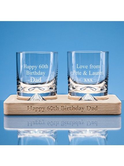 2 off 310ml Verona Crystalite Whisky Tumblers on a Beech Wood Base