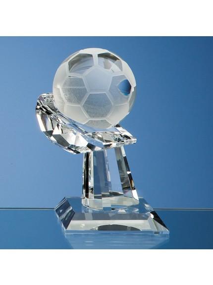 Optical Crystal Football on Mounted Hand Award