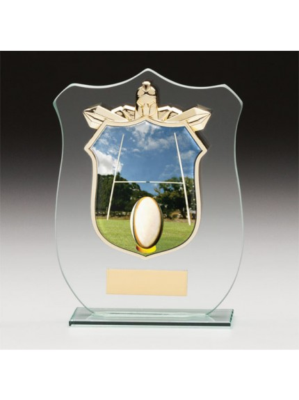 Titans Glass Rugby Player Shield
