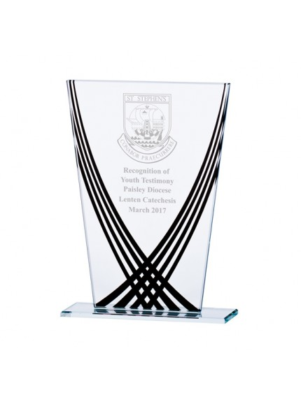 Aztec Edge Glass Award Black - Available in 3 Sizes