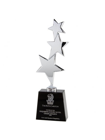 Los Angeles Crystal & Chrome Award Silver & Black 295mm