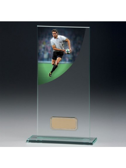 Rugby Colour-Curve Jade Crystal Award