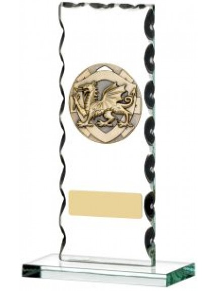 Welsh Dragon Glass Plaque