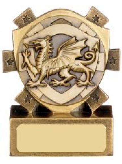 Mini Shield Welsh Dragon Award