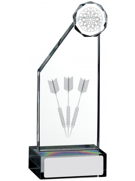 Laser Engraved Darts Glass Award - 3 Sizes