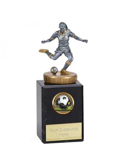 14.5cm Classic Female Footballer Flexx in silver and gold