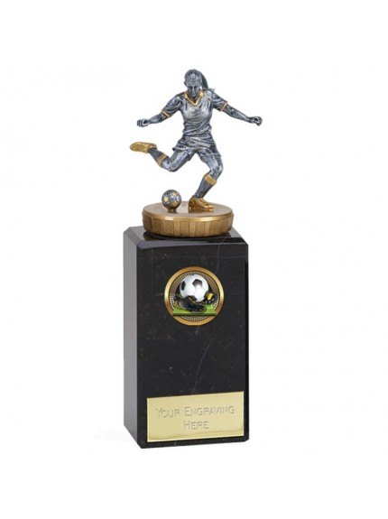 17cm Classic Female Footballer Flexx in silver and gold