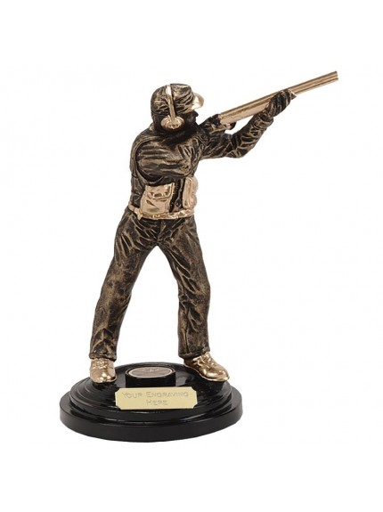 Action Clay Pigeon Shooter Figure Resin Award - Available In 2 Sizes