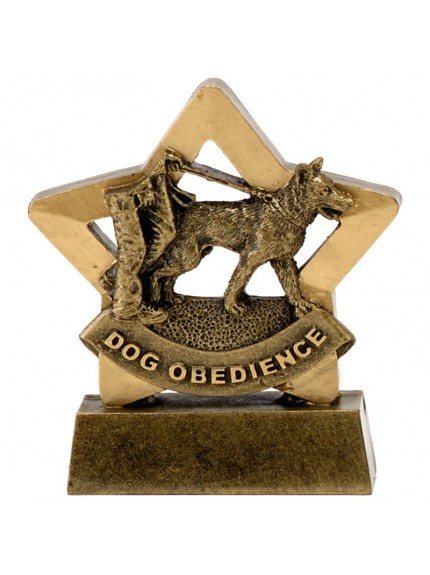8.5cm Mini Star Dog Obedience in gold and bronze