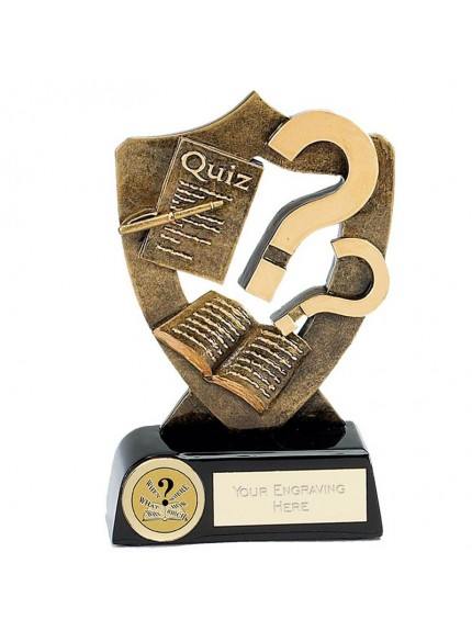 Celebration Shield Quiz Award With Book And Question Mark Theme - Available In 2 Sizes