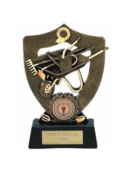 Gardening Celebration Shield Award With Wheelbarrow Design
