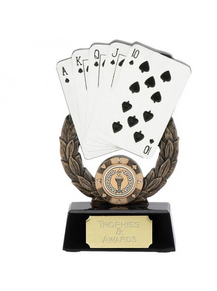 Laurel Wreath Royal Flush Cards Trophy - Available In 2 Sizes