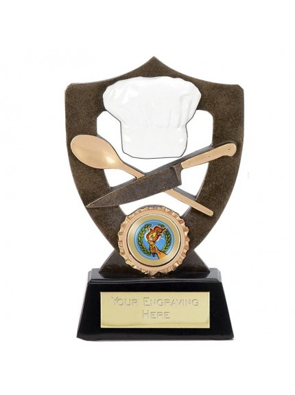 Celebration Shield Chef Award With Hat And Spoon And Knife Details