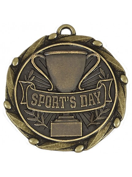 4.5cm Combo Sports Day Medal & Ribbon in antique gold