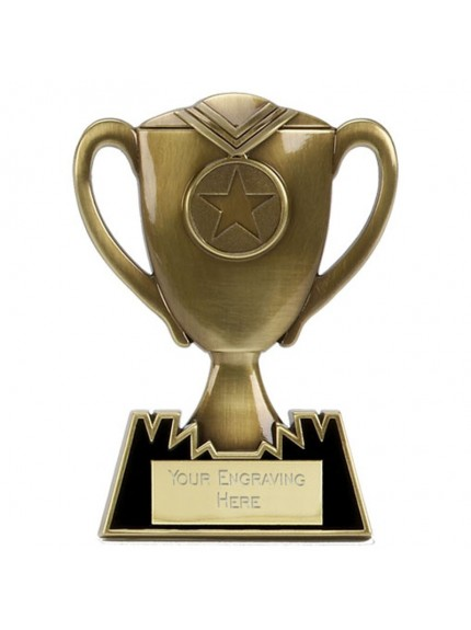 Cup Plaque Metal Multi Award - Available in Gold, Silver and Bronze