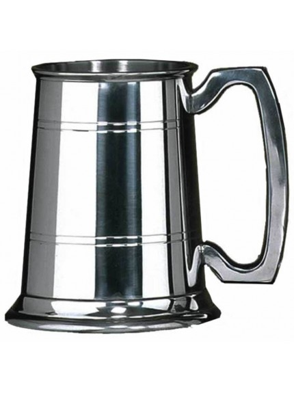 Rutland Pewter Tankard with Ribbed Detail and Half Pint Capacity