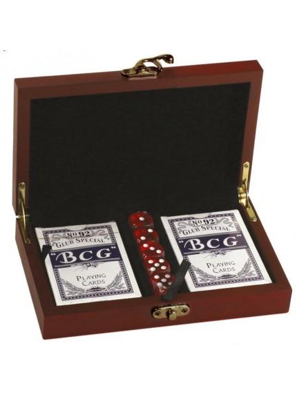 Rosewood Finish Card & Dice Set - Includes Decks & Dice