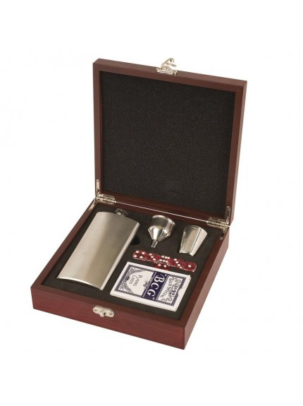 Rosewood Finished Flask Set - Includes Flask - Funnel - Shot Glass Cards & Die