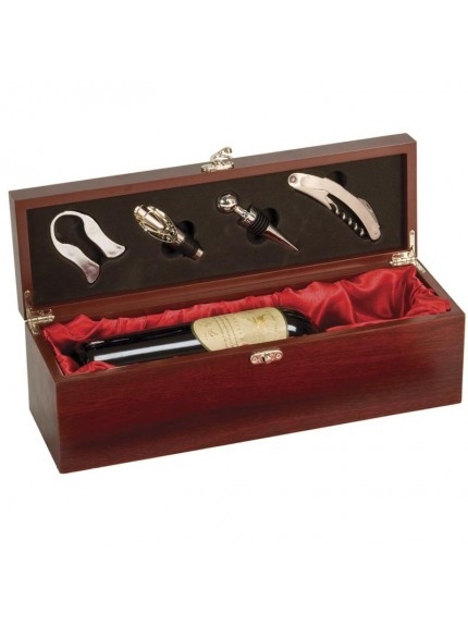 Rosewood Piano Finish Single Wine Presentation Box With Tools