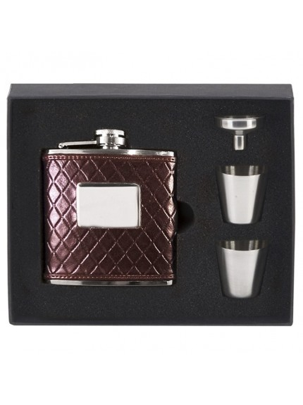 6oz Vision Brown leather wrapped Flask in silver