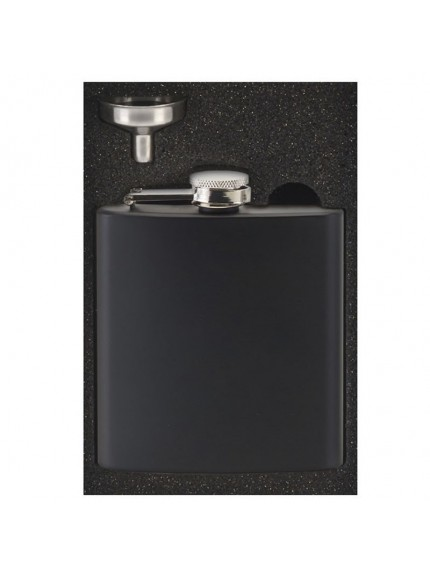 6oz Vision Matt Black Flask in black