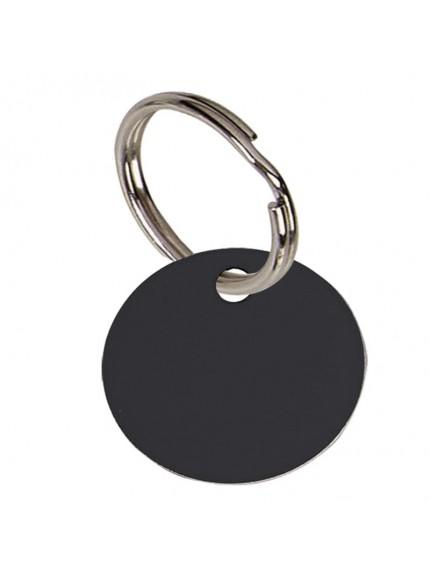 2.5cm Round Black Anodised Alum Tag in black