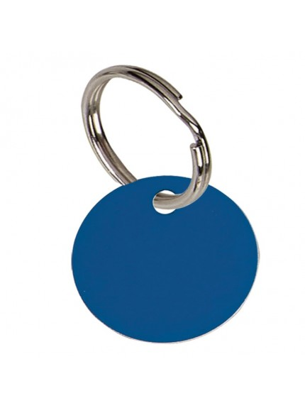 2.5cm Round Blue Anodised Alum Tag in blue