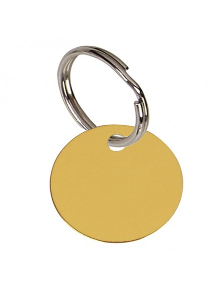 2.5cm Round Gold Anodised Alum Tag in gold