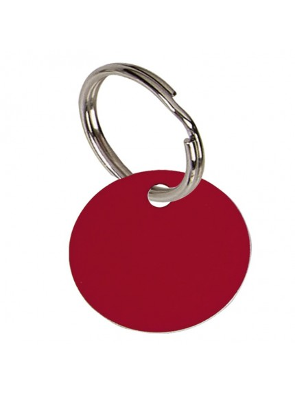 2.5cm Round Red Anodised Alum Tag in red