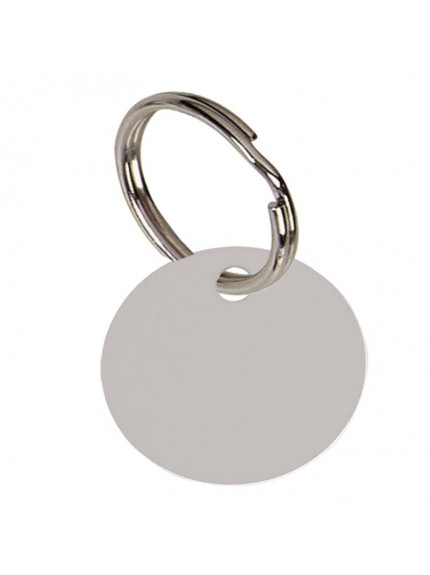 2.5cm Round Silver Anodised Alum Tag in silver