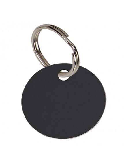 3.2cm Round Black Anodised Alum Tag in black