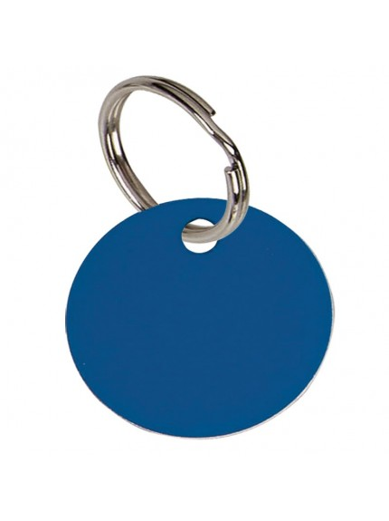 3.2cm Round Blue Anodised Alum Tag in blue