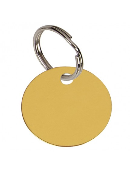 3.2cm Round Gold Anodised Alum Tag in gold