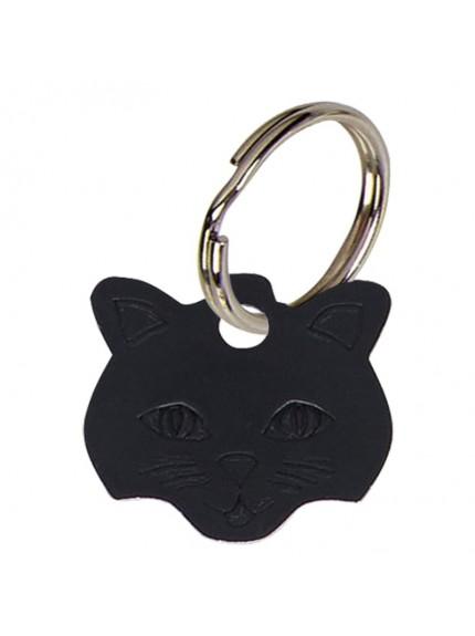 2.3x2.3cm Cat face Black Anodised Alum Tag in black