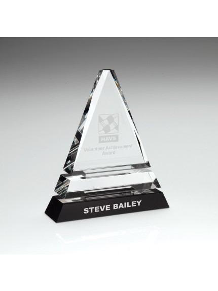 Clear Glass Pyramid On Black Base