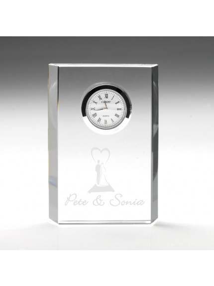 12cm Clear Glass Rectangle Clock